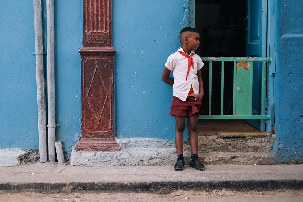 School boy on streets of Havana, Cuba