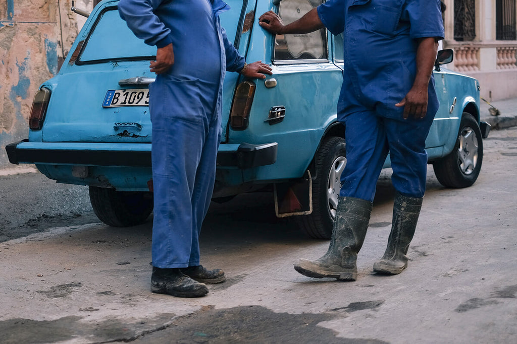 Mechanic's on the streets of Havana Cuba