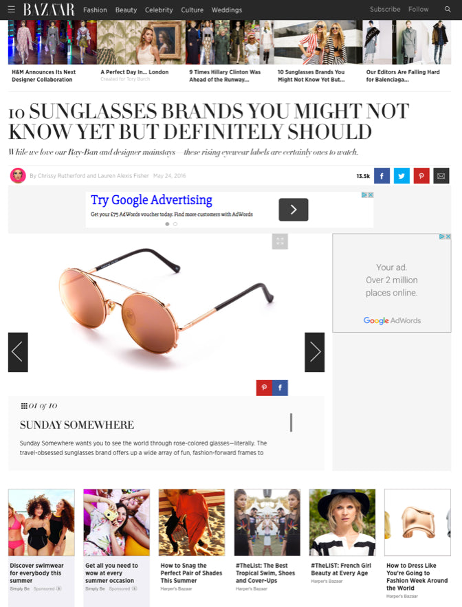 Harpers Bazaar Top 10 Sunglass brands