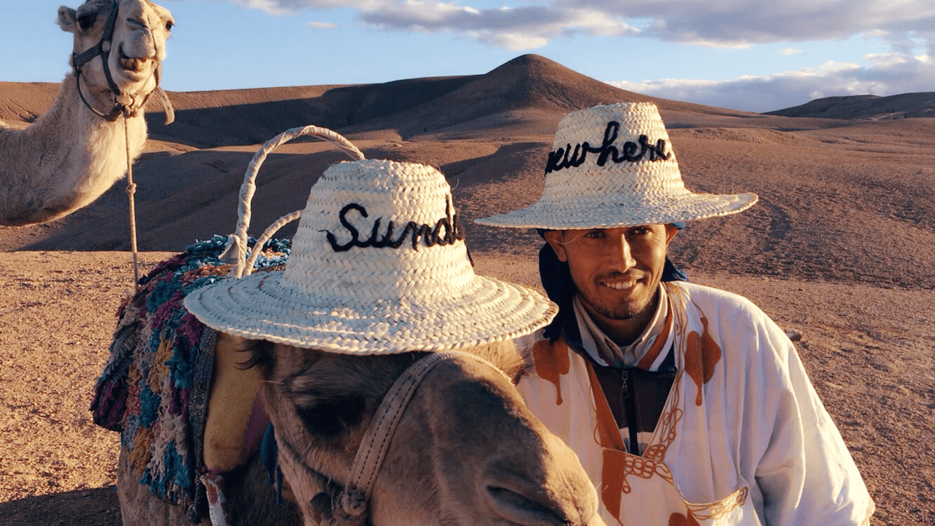 Camel with hat in Morocco