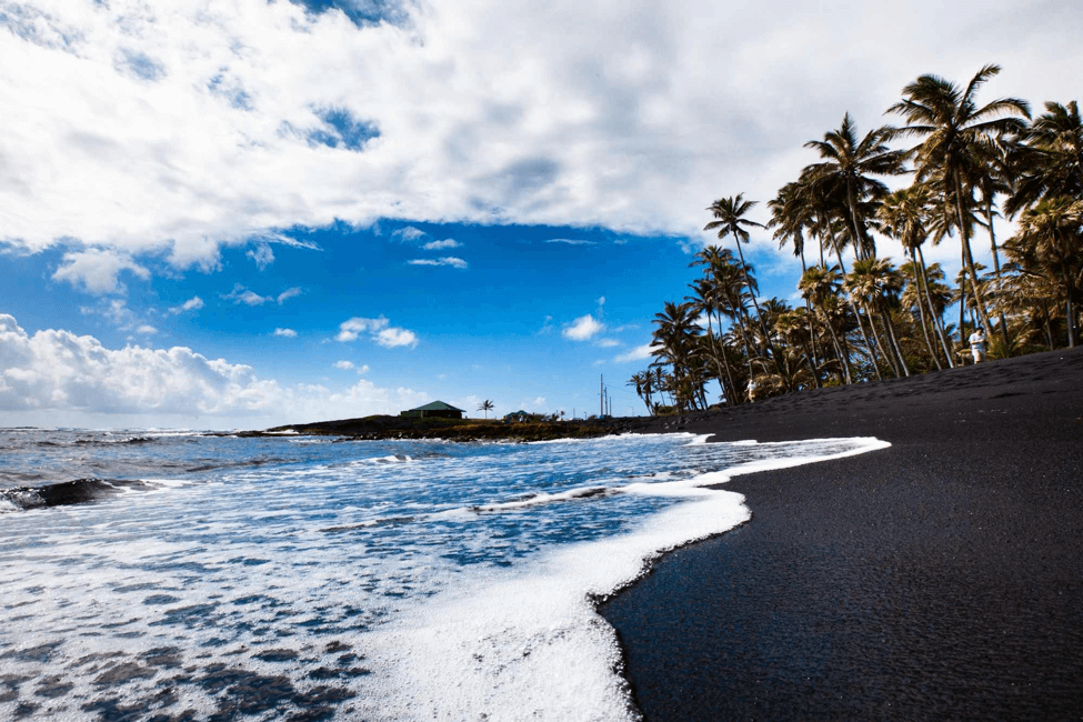 Punalu'u Black Sand Beach, Big Island Hawaii