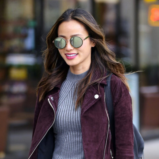 Jamie Chung Wearing Oval Mirrored sunglasses