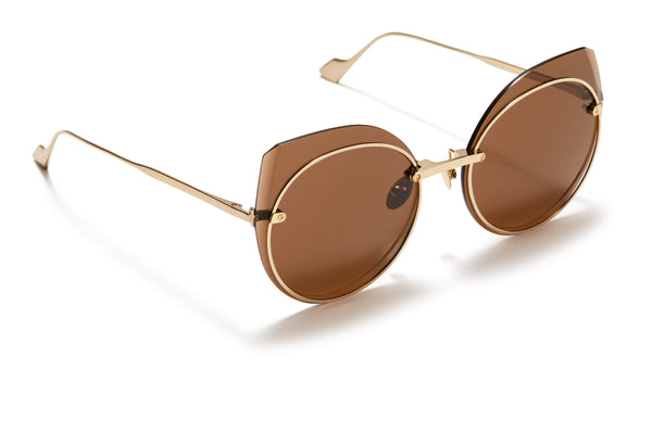 Sunday Somewhere Blossom Gold Women's Round Metal Sunglasses