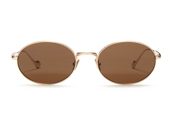 Sunday Somewhere Jax in Gold Unisex Round Metal Sunglasses