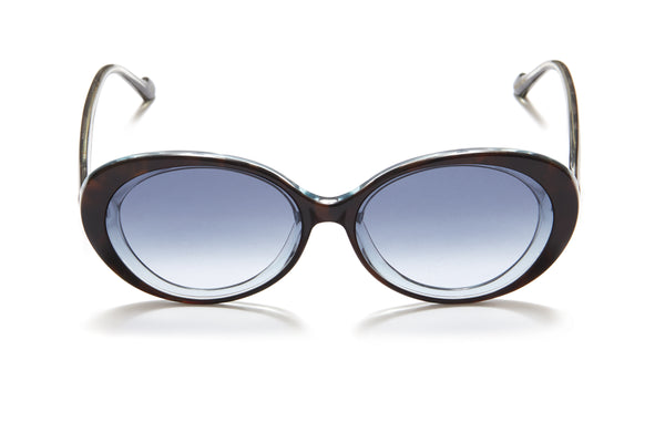 Sunday Somewhere Juniper in Blue Tort Women's Round Acetate Sunglasses