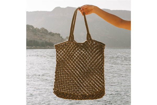 MACRAME BAG BY THE BEACH PEOPLE IN KHAKI