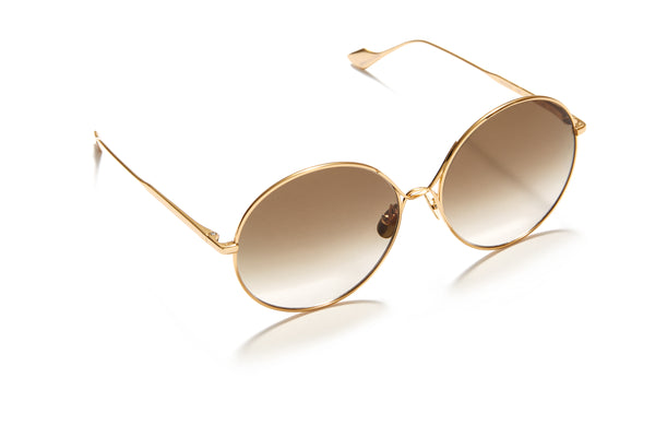 Sunday Somewhere Lola in Gold Women's Round Metal Sunglasses
