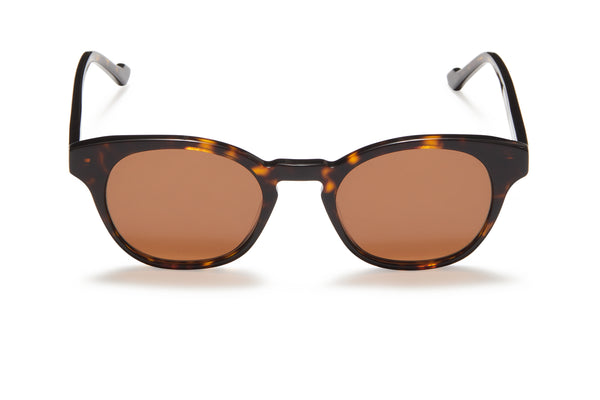 Sunday Somewhere Ario Dark Tort Unisex Round Acetate Sunglasses
