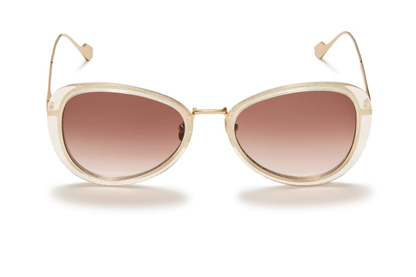 Sunday Somewhere Iggy Gold Glitter Women's Geometric Sunglasses
