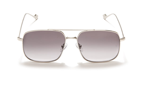 Sunday Somewhere Andy Silver Unisex Aviator Metal Sunglasses