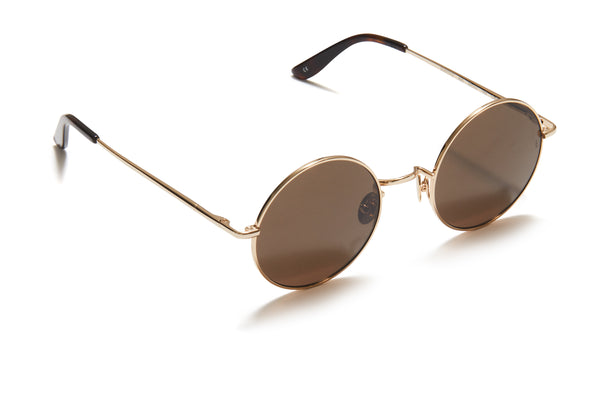 Sunday Somewhere Junita Gold Unisex Round Metal Sunglasses
