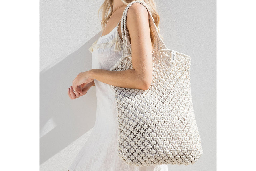 MACRAME BAG BY THE BEACH PEOPLE IN WHITE