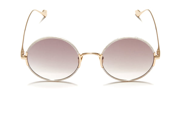 Sunday Somewhere Yetti Duo in Mother of Pearl Unisex Round Sunglasses