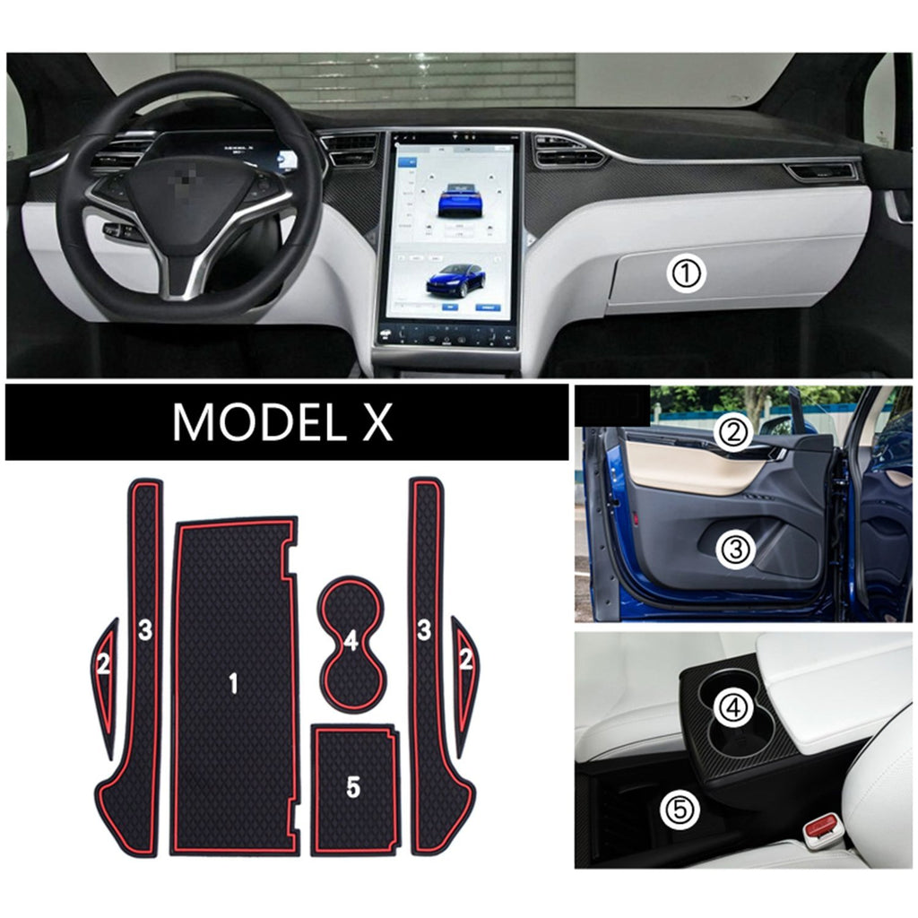 Tesla Model X Anti-dust Non-Slip Interior Door Cup Arm Box Storage Mat Pad with Key Covers free