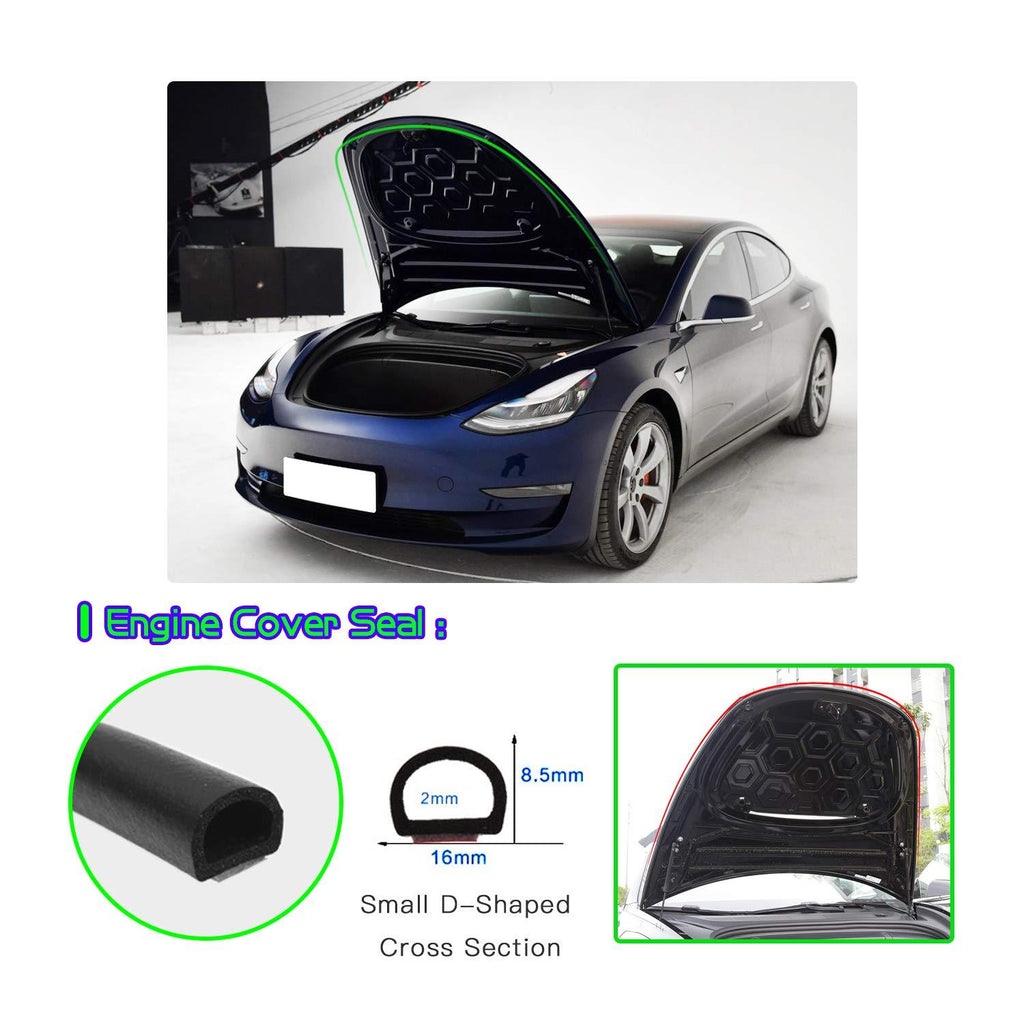 Tesla Model 3 Door Seal Soundproof Rubber Noise Reduction and Vibration Reduction