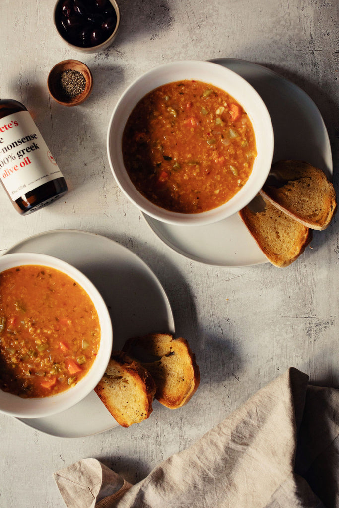 100% greek traditional lentil soup