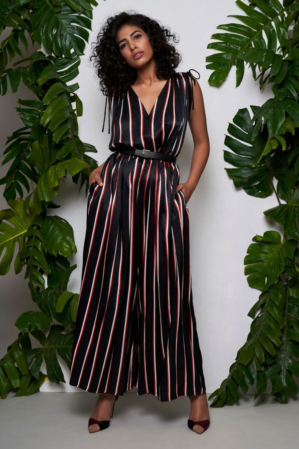 black multi-coloured stripped jumpsuit - ajieshoberoi