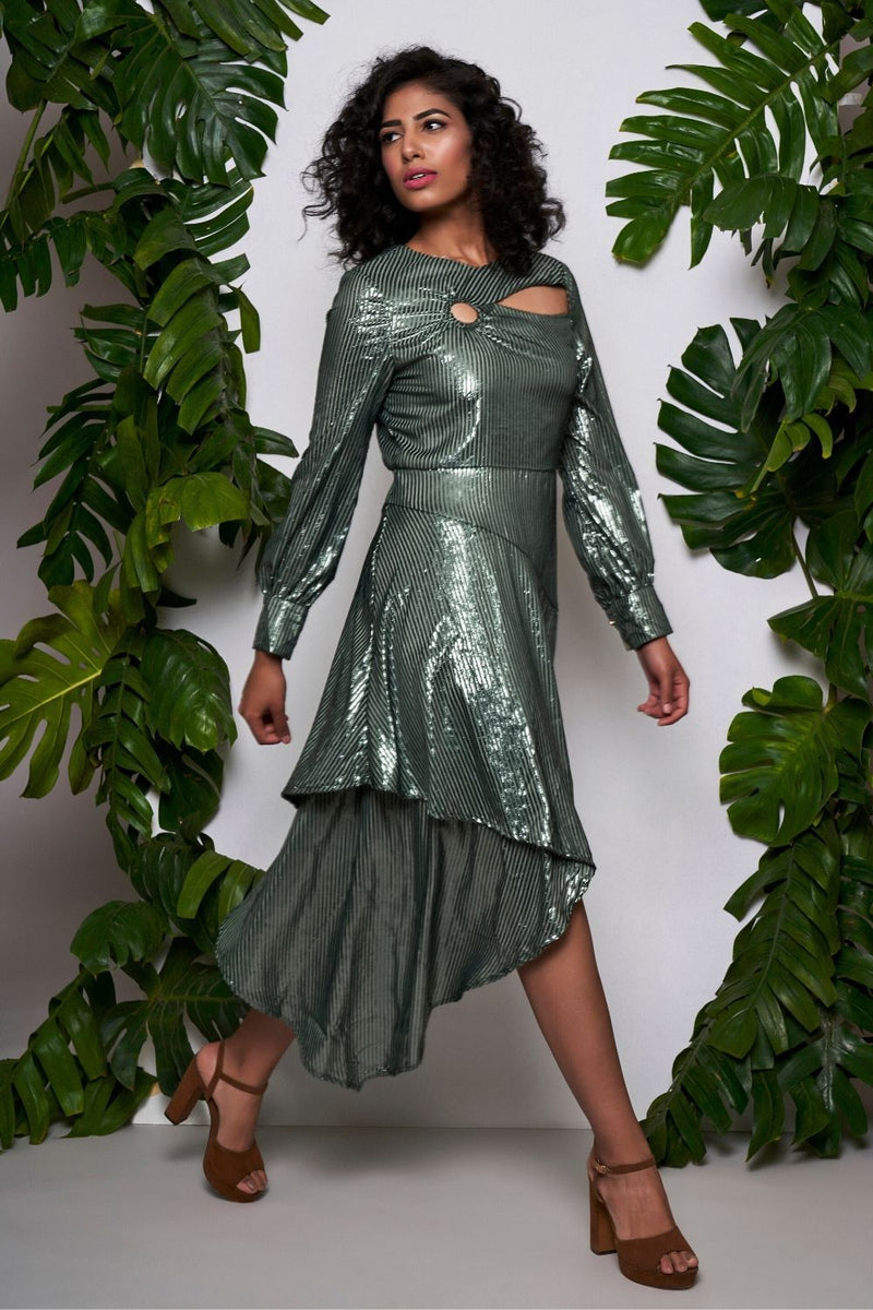 Metallic green asymmetrical dress - ajieshoberoi