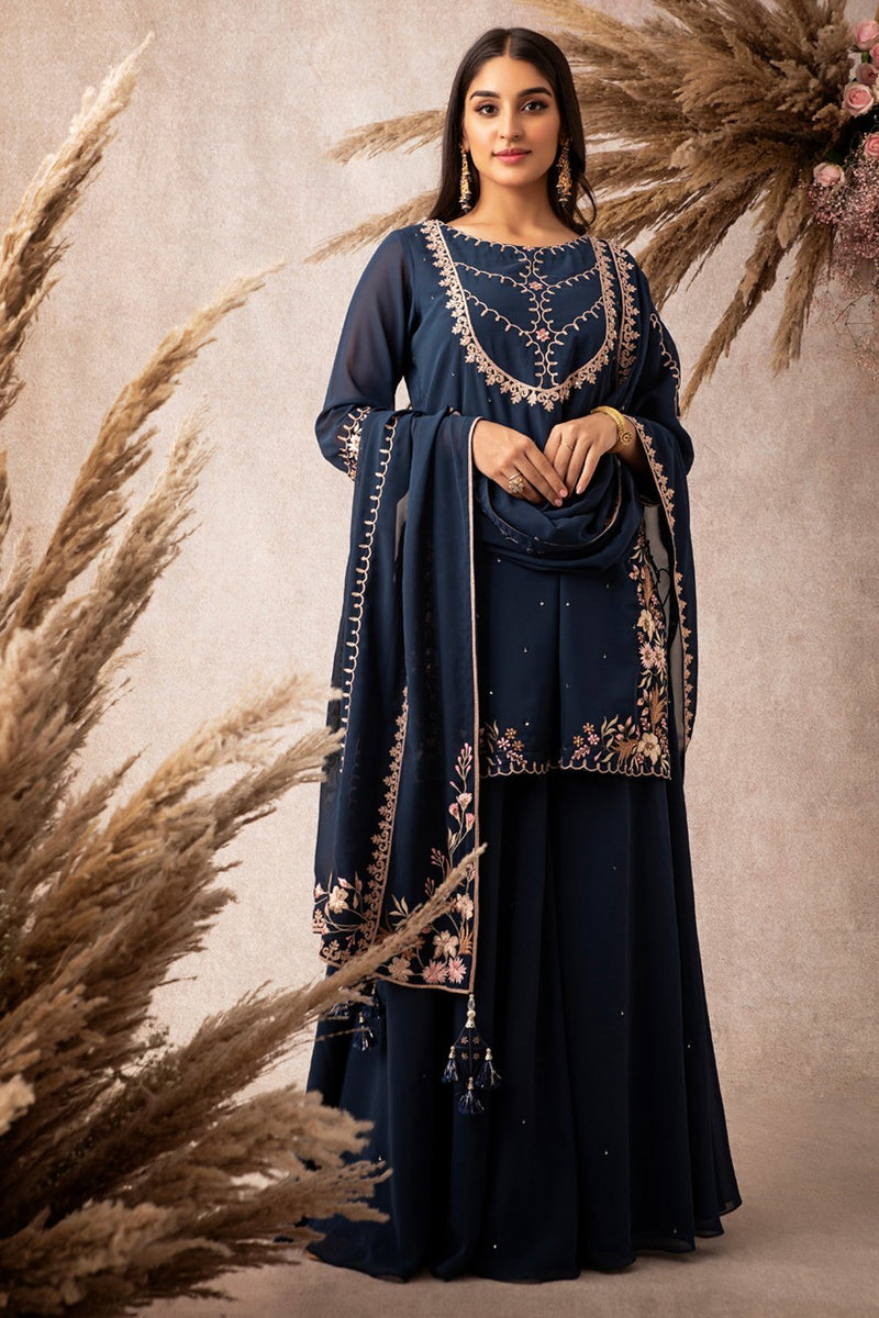 Navy Short Kurta Set - ajieshoberoi