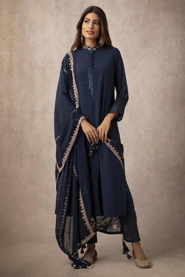 Navy Straight Kurta Set - ajieshoberoi