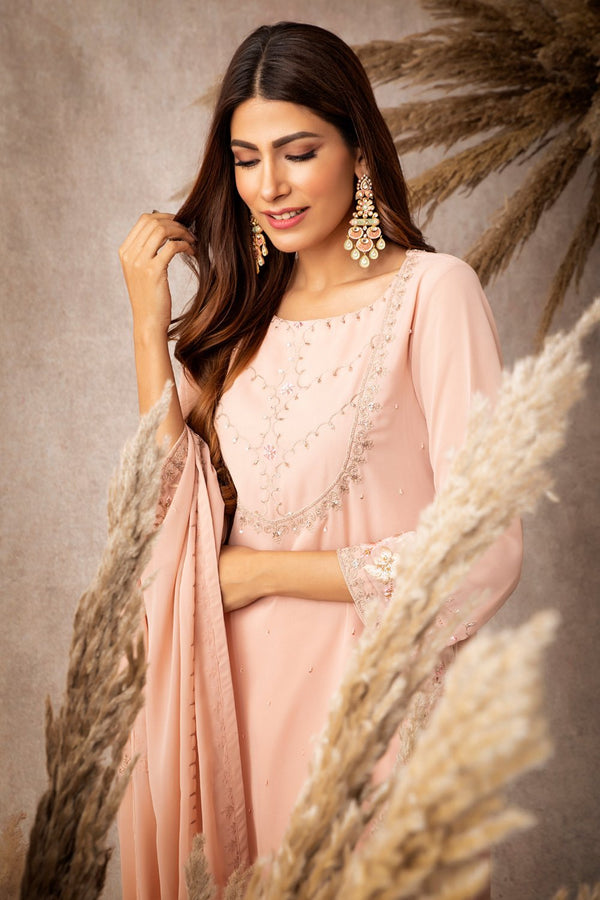 Peach Short Kurta Sharara Set - ajieshoberoi