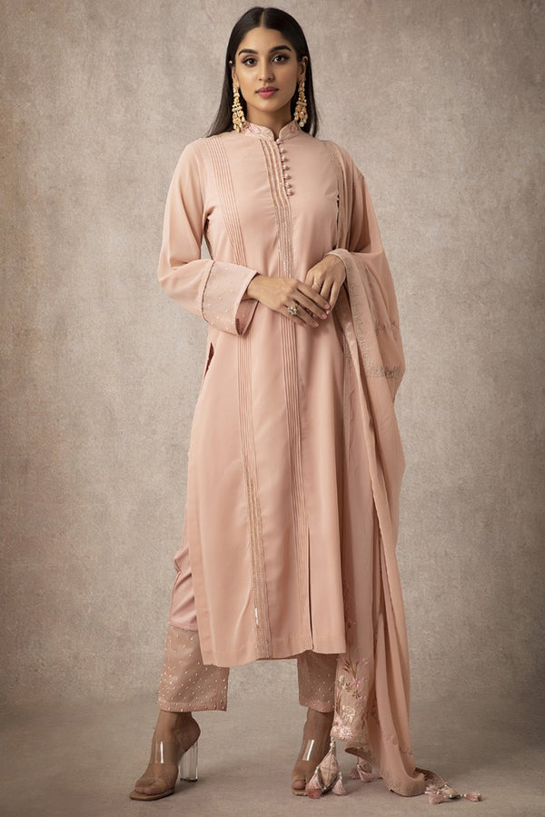 Peach Straight Kurta Set - ajieshoberoi