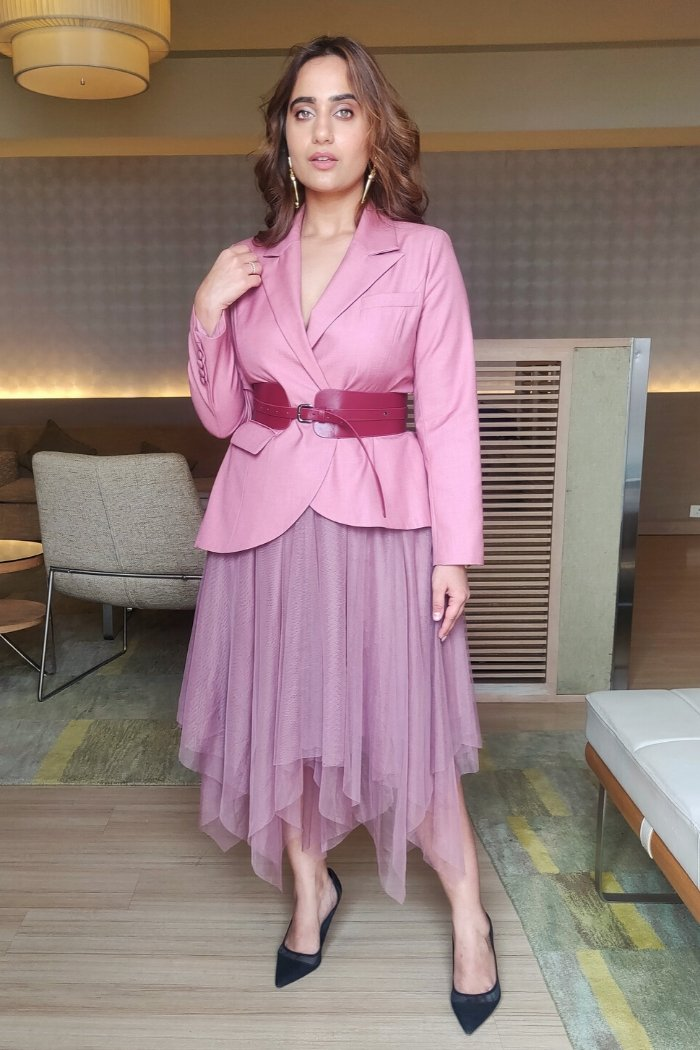 Pink Belted Jacket And Skirt Set as seen on Kusha Kapila - ajieshoberoi