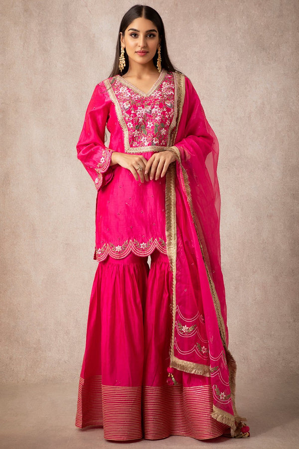 Rani Pink Short Scalloped Kurta Set - ajieshoberoi
