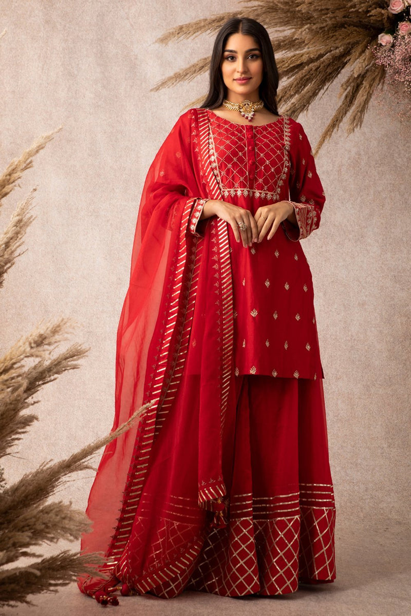 Red Short Kurta Set - ajieshoberoi