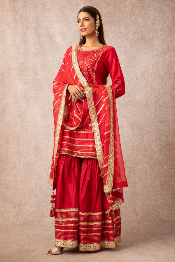 Red Straight Kurta Set - ajieshoberoi