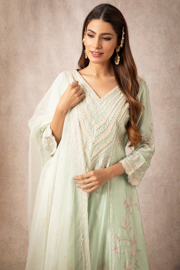 Sea Green A Line Kurta Set - ajieshoberoi