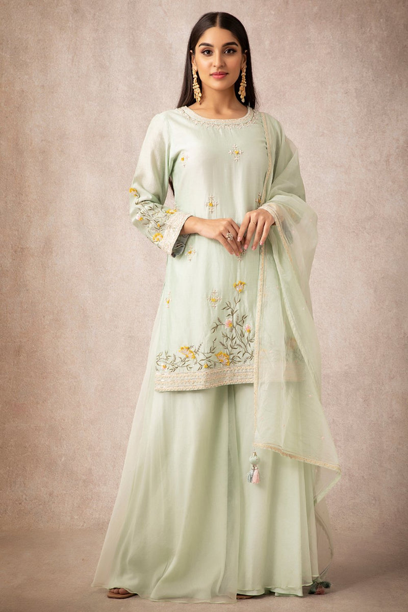 Sea Green Short Kurta Set - ajieshoberoi
