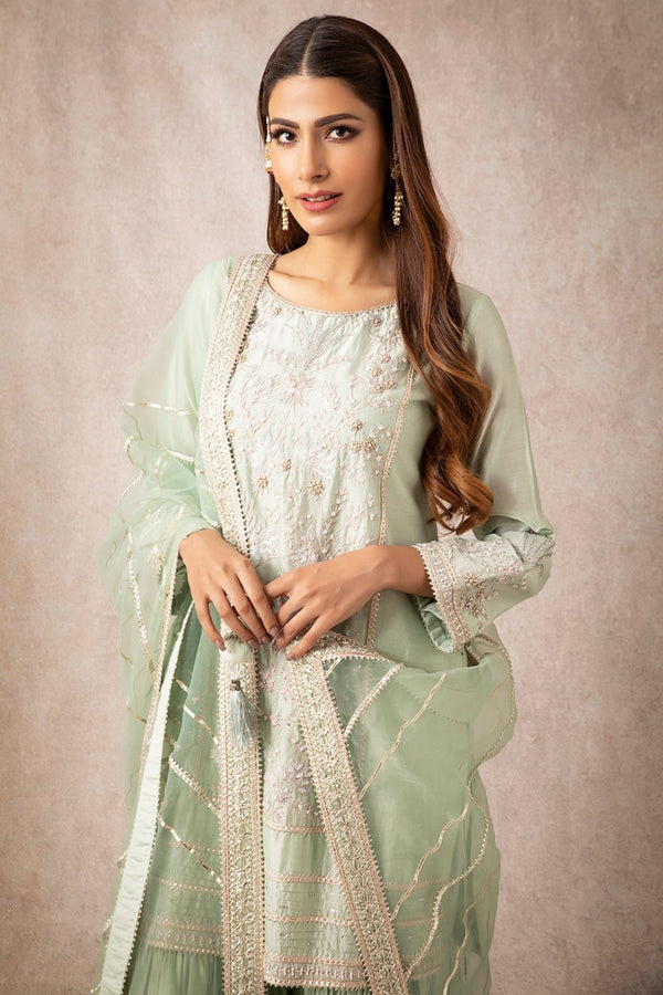 Sea Green Straight Kurta Set - ajieshoberoi