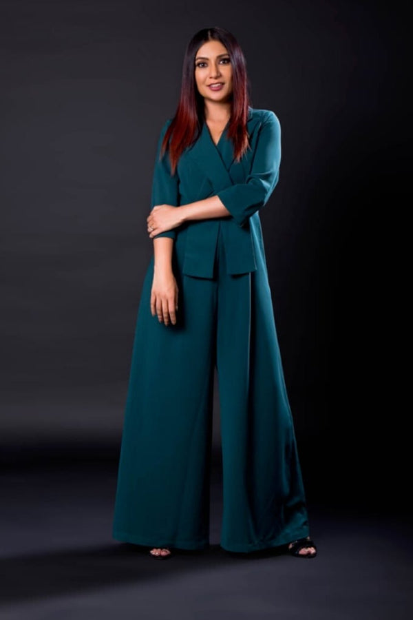 Teal crossbody jumpsuit AS seen on Malini Agarwal - ajieshoberoi