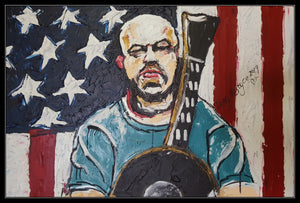 AARON LEWIS COUNTRY BOY - Original Artwork FOR SALE Oil Painting By Leah Justyce (BaVA) Example Frame
