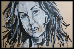 ALANIS MORISSETTE - Original Artwork FOR SALE Oil Painting By Leah Justyce (BaVA) Example Frame