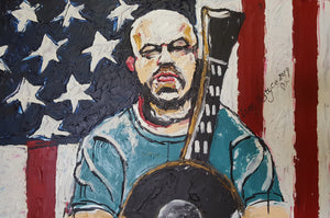 AARON LEWIS COUNTRY BOY - Original Oil Painting By Leah Justyce (BaVA)