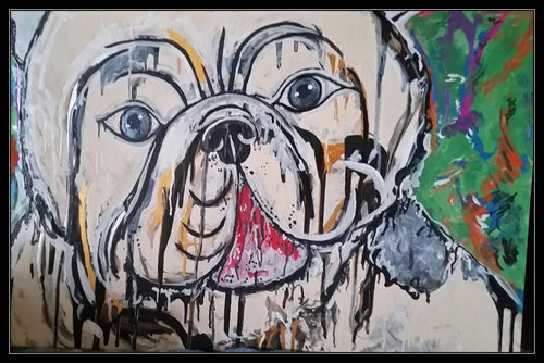 BRITISH BULLDOG POP ART - Original Artwork FOR SALE Oil Painting By Leah Justyce (BaVA)