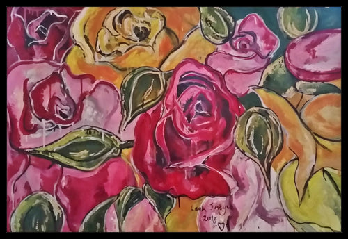 BUNCH OF ROSES - Original Artwork FOR SALE Oil Painting By Leah Justyce (BaVA)