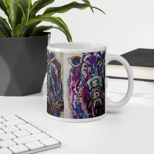 Cow Coffee Mug Pink and Blue