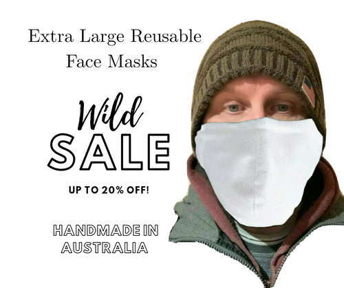 Buy White Extra Large Reusable Face Masks With Nose Wire In Australia