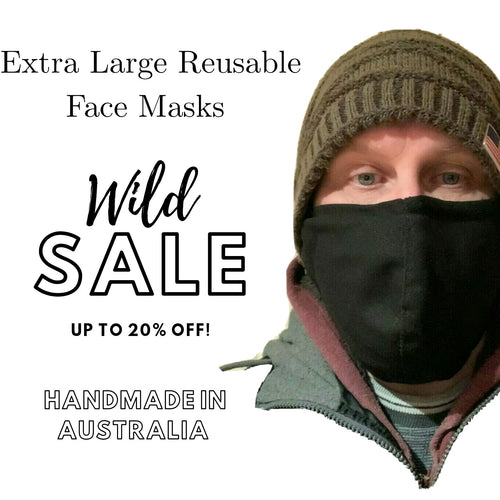 Buy Black Extra Large Reusable Face Masks With Nose Wire In Australia