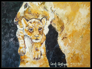 LIONESS AND CUB - Original Artwork FOR SALE Oil Painting By Leah Justyce (BaVA)