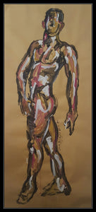 MALE NUDE STANDING POSE - Original Artwork FOR SALE Oil Painting By Leah Justyce (BaVA)