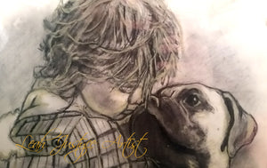 Pet Portrait Artist - Bullmastiff and Young Girl