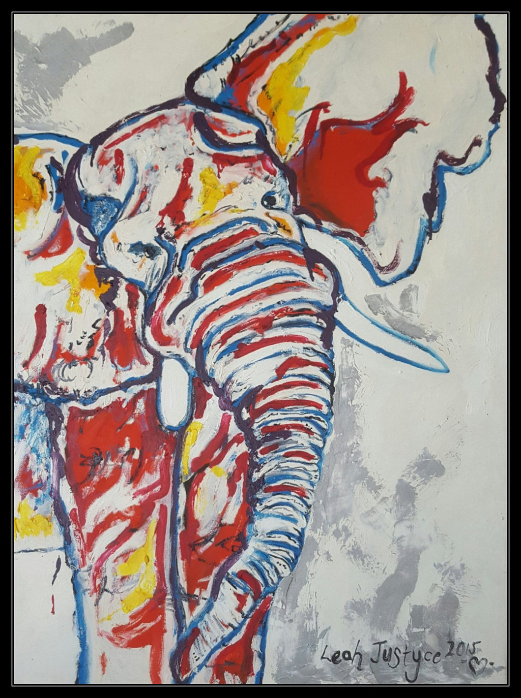 RED, BLUE AND YELLOW ELEPHANT - Original Artwork FOR SALE Oil Painting By Leah Justyce (BaVA)