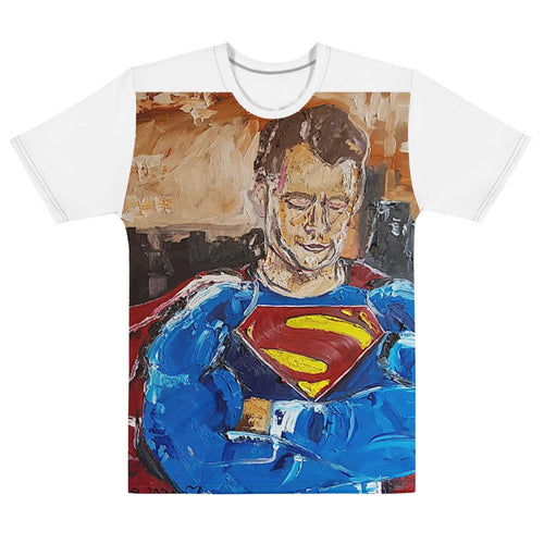 Superman Justice League Men's Staple Tee Original Oil Painting By Leah Justyce