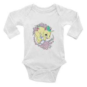 Yellow Baby Unicorn Infant Long Sleeve Bodysuit By URBAN JUSTYCE CLOTHING