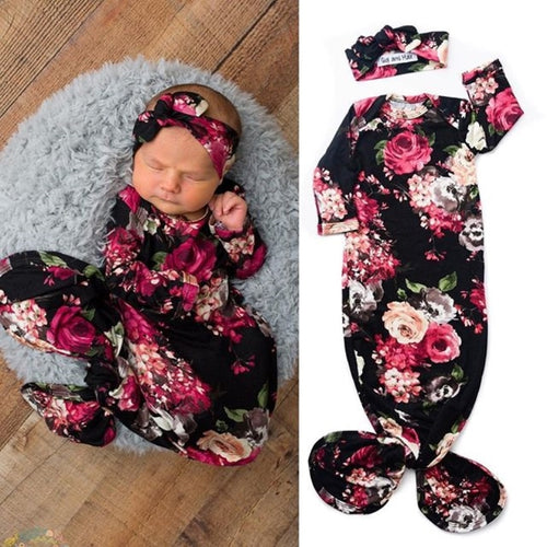 Newborn Baby Girl Roses Sleeping Sack and  Headband Set