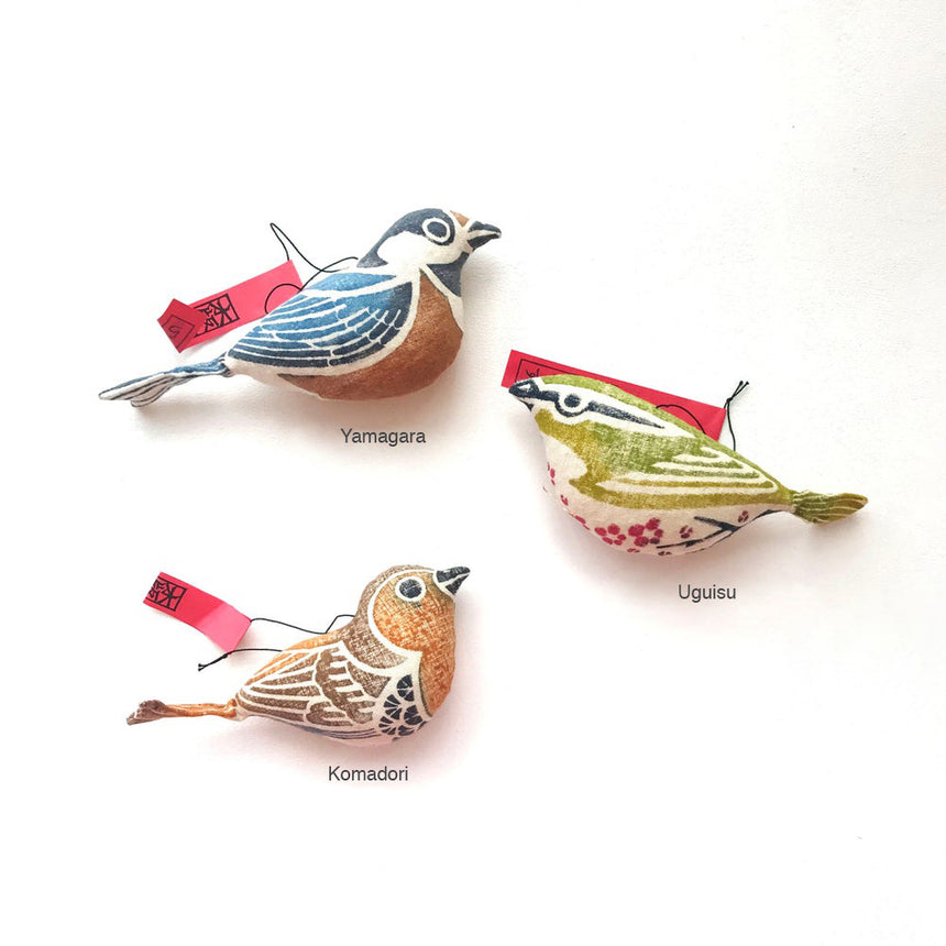 Woodblock Print Stuffed Birds